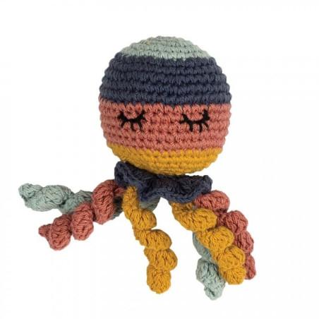 Hochet pieuvre en crochet, coton bio