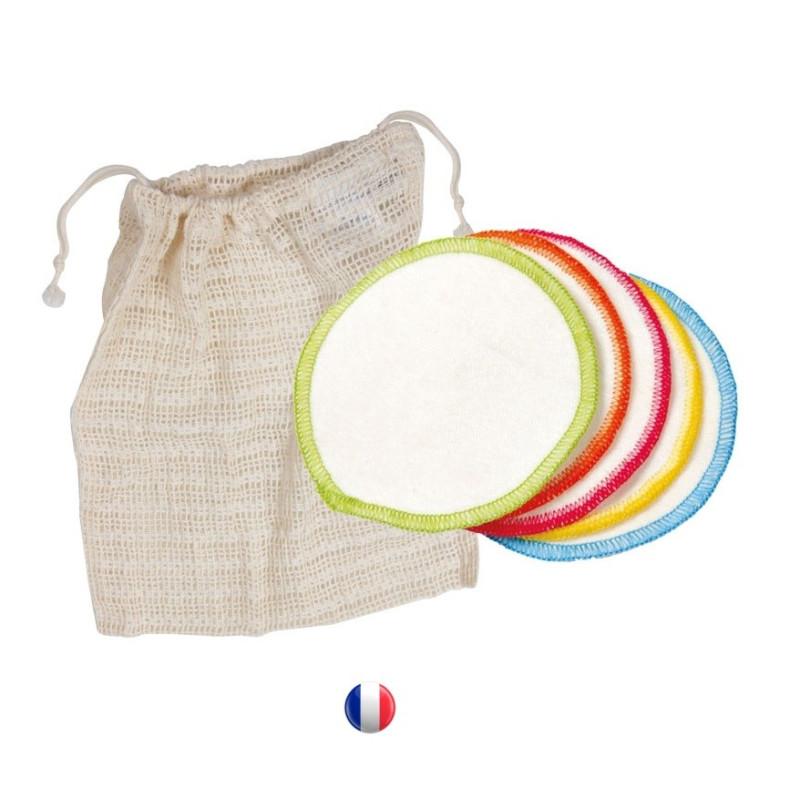 Démaquillettes lavables Anae, lot de 10 en coton bio avec pochette de lavage France