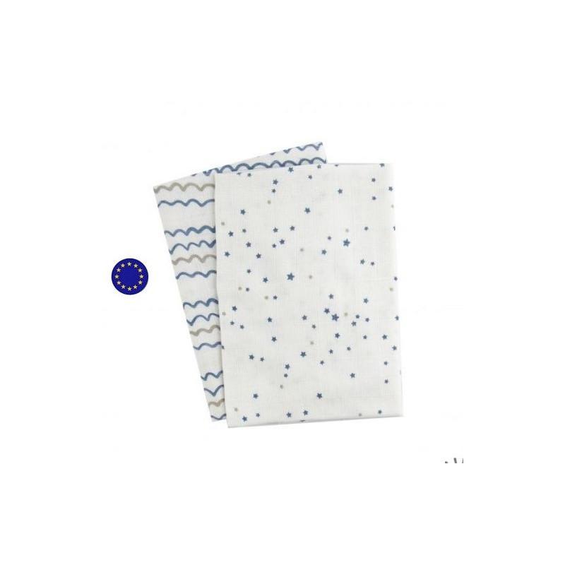 Langes XL starry sea, 120x120 en coton bio à motif popolini