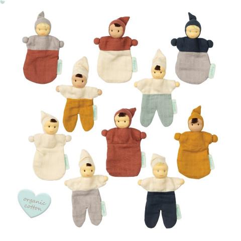 Doudou poupon waldorf mini mix en coton bio, betty et nico  jouet ecologique de commerce equitable hoppa