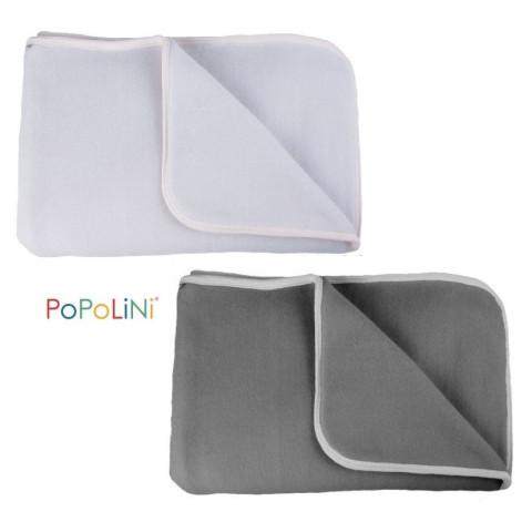 Couverture polaire de coton bio, gris ou ecru pour bébé IOBIO de popolini