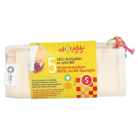 sacs à vrac reutilisables coton Bio taille S, ah table ecodis lot de 5