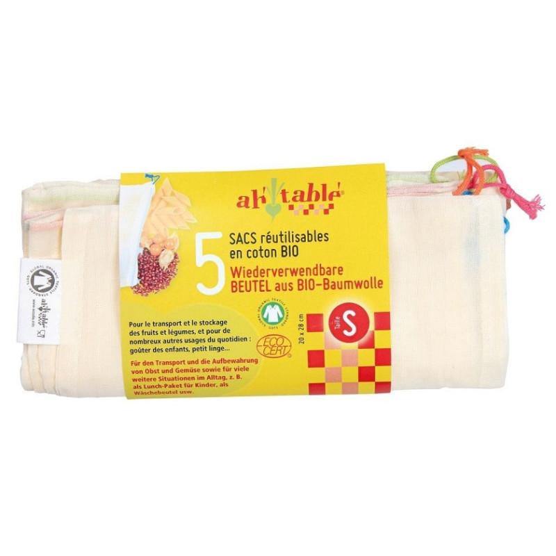 sacs à vrac reutilisables coton Bio taille S, ah table ecodis lot de 5