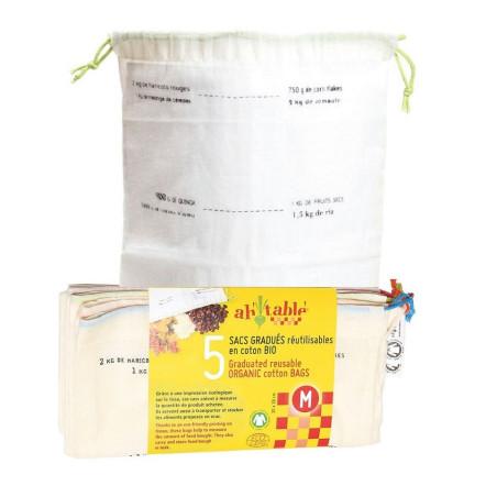 sacs à vrac reutilisables gradués coton Bio, lot de 5
