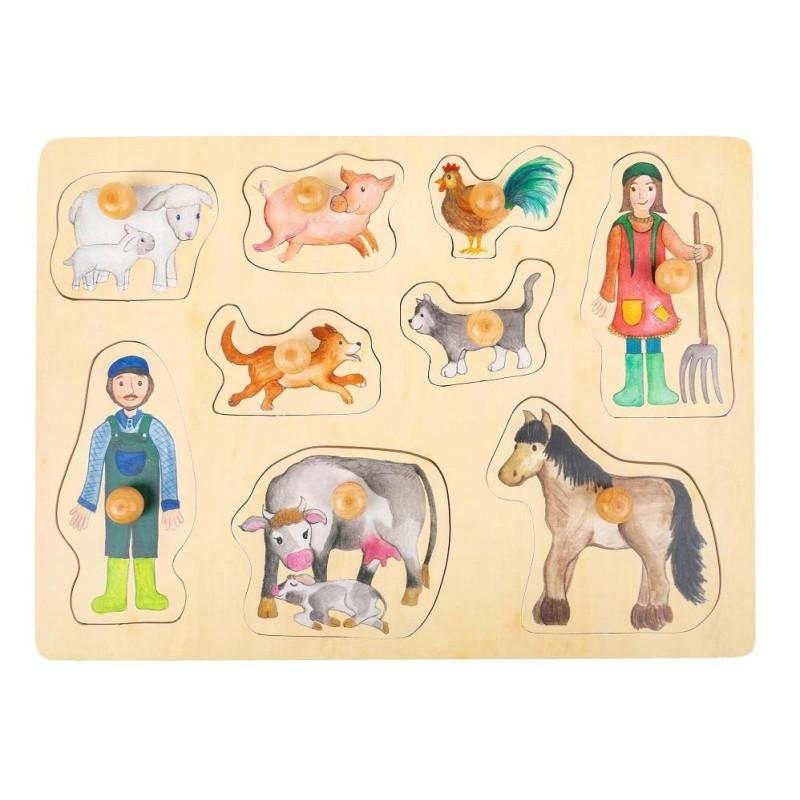 Puzzle à encastrer la vie à la ferme, jouet d'eveil en bois bébé écologique de legler