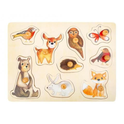 Puzzle à encastrer animaux de la forêt, jouet d'eveil en bois bébé écologique de legler