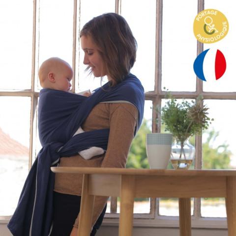 Echarpe de portage unie bleu fregate marine, porte bébé physiologique Néobulle france