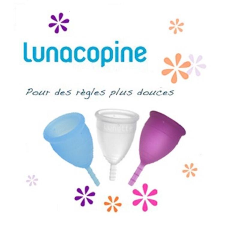 Lunacopine, cup coupe menstruelle pratique,  efficace et écologique, avec sa pochette satin