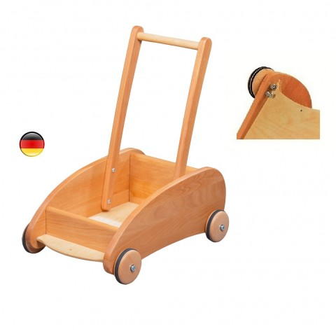 Chariot de marche à frein, jouet en bois steiner waldorf de Verneuer allemagne