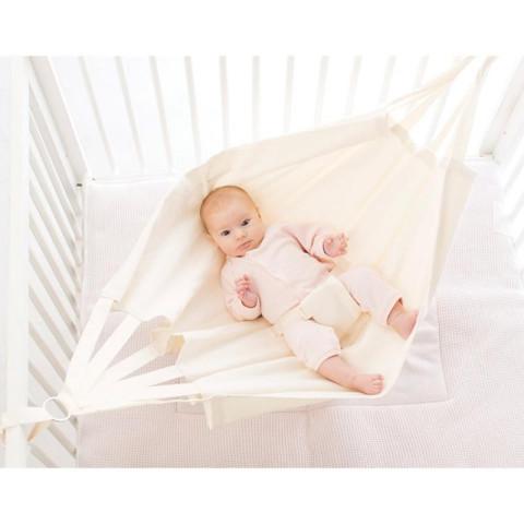 Hamac bébé en coton ecru, pour detente et sommeil facile de hoppa