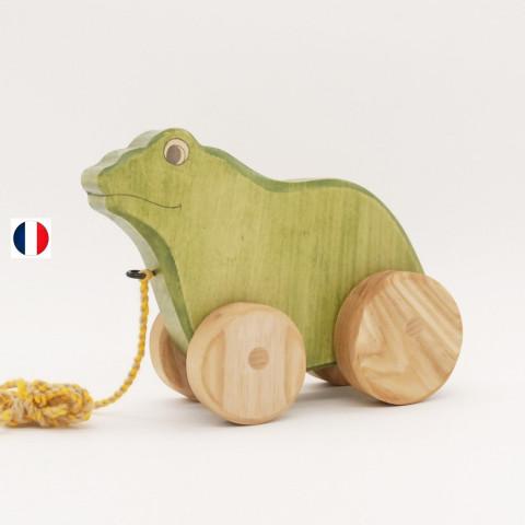 Grenouille, jouet en bois à tirer, ecologique et ethique de atelier des petits bouts de bois france