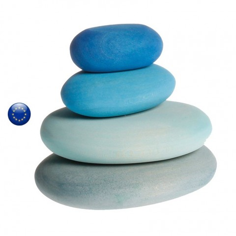 Galets bleu, à caresser, empiler, equilibrer, decorer, jouet en bois ecologique et ethique, Grimm's