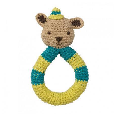 Hochet ours en crochet, coton bio