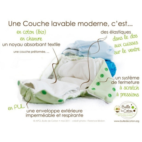 Lot complet couches lavables chanvre et coton bio Kidego