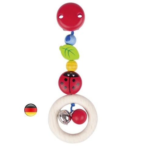 Clip hochet Coccinelle, jouet en bois Heimess